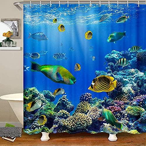 Deep Sea Bath Curtain Ocean Colorful Fish Shower Curtain Underwater World Fabric Shower Curtains Coral Marine Life Bathtubs Curtain 72' W X 72' L