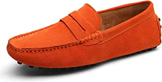 Eagsouni Men's Loafers Warm Moccasins Winter Driving Shoes Flats Slippers Slip On Casual Penny Suede Leather Dress Boat Shoes Fashion