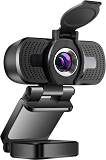 1080P Webcam with Microphone & Privacy Cover, USB Camera for PC Laptop, Desktop Webcam with Mic for Zoom Meeting YouTube Skype FaceTime Hangouts, Wide Angle, Auto Light Correction, Windows Mac OS