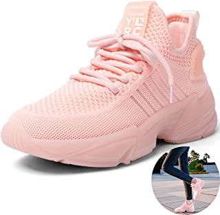 Running Shoes Women's White Casual Shoes Soft Bottom Spring Fitness Sneakers Travel Sports Net Shoes (Color : Pink, Size : 7.5)