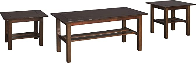 Signature Design by Ashley - Lewis Contemporary 3 Piece Table Set,  Medium Brown