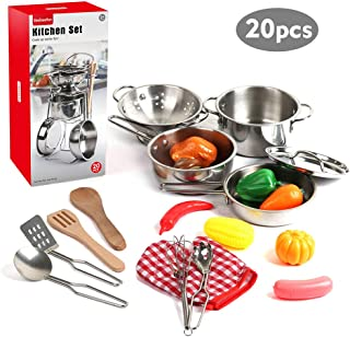 20 Pieces Kids Pots and Pans,Stainless Steel Toys Cookware for Kids Toddler, Pretend Play Cooking Toys with Utensils and Grocery Play Food for 2 3 4 5 6 7 Girls Boys, Kitchen Playset Accessories