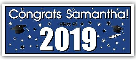 Class of 2019 Graduation Party Banner Decoration Blue Backdrop