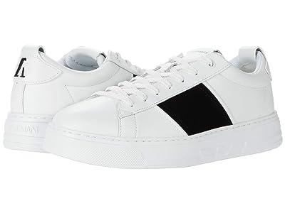 Emporio Armani Classic Stripe Sneaker (White/Black) Men