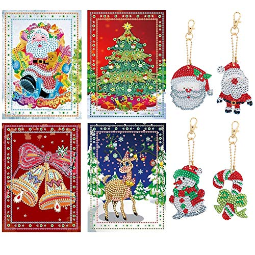 Diamond Painting Christmas Greeting Cards Kit with DIY Keychain 5D DIY Diamond Cards Kits for Kids & Adults,Handmade Gift for Holiday(4 Pack Cards and Keychain)