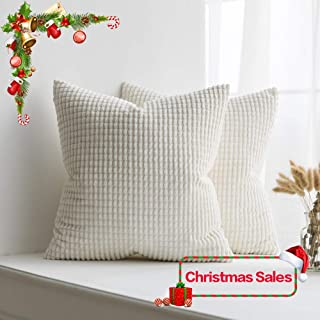 MIULEE Pack of 2 Christmas Decorative Throw Pillow Covers Soft Corduroy Solid Cushion Case Cream White Pillow Cases for Couch Sofa Bedroom Car 20 x 20 Inch 50 x 50 cm