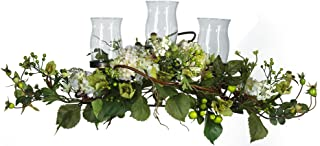 Nearly Natural 4634-CR Hydrangea Triple Candleabrum Centerpiece, Cream