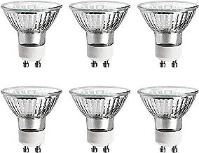 GE 50 Watt MR16 Halogen Light Bulb, Glass Cover, Dimmable, 360 Lumens, 120V, GU10 Base (6 Pack)