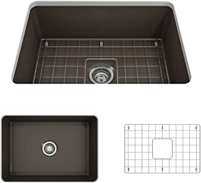 Bocchi 1360 025 0120 Sotto Undermount Fireclay 27 In Single Bowl Kitchen Sink With Protective Bottom Grid And Strainer In Matte Brown Amazon Com