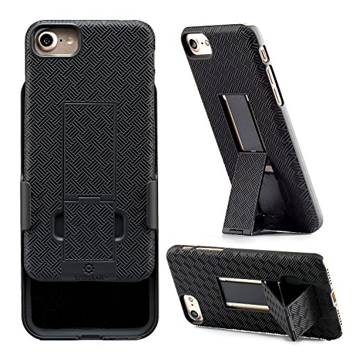 iPhone 8, iPhone 7 Holster, WizGear Shell Holster Combo Case for Apple iPhone 7 with Kick-Stand and Belt Clip - Black (iPhone 7/8)