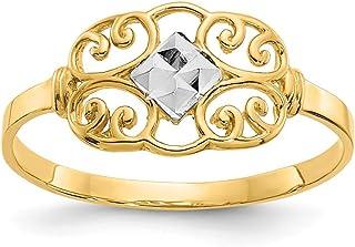 Mia Diamonds 14k Solid Yellow Gold Filigree Ring