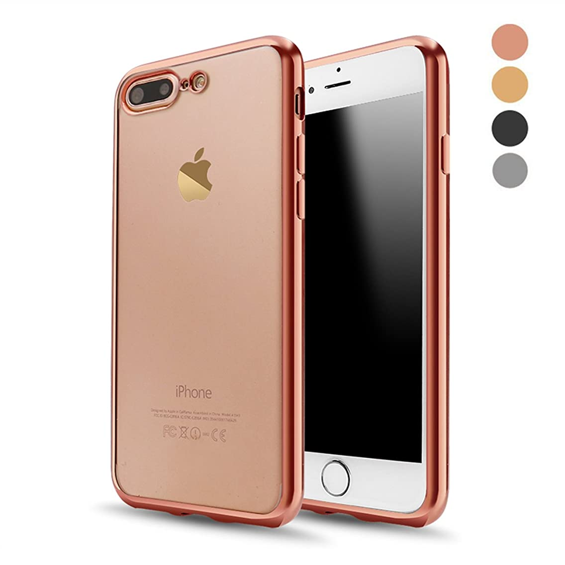 iPhone 8 Plus Case, iPhone 7 Plus Case, RLINGX Soft TPU Gel Bumper Cover Shell[Support Wireless Charging] [Slim Fit]Style Clear Protective Case for Apple iPhone 8 Plus 5.5 In(Rose Gold)