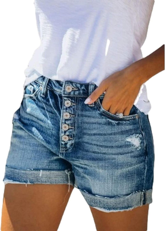 GHJX Women's Mid Rise Denim Shorts Streetwear Multi-Button Ripped Hole Cuffed Hem