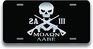 Decals Home Decor & More Molon Labe Punisher 3 Percenter 2nd Amendment Vanity License Plate | Etched Aluminum | 6-Inches by 12-Inches | Car Truck RV Trailer Wall Shop Man Cave | VLP001