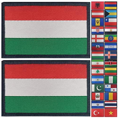 JBCD 2 Pack Ungarn Flagge Patch Ungarische Flaggen Tactical Patch Pride Flag Klettverschluss Patch für Kleidung Hut Patch Team Military Patch