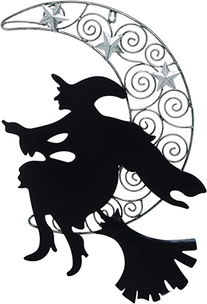 One Holiday Way Rustic Metal Flying Witch On Silver Moon Wall Hanging Halloween Decoration