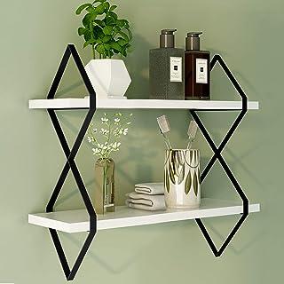GLORIEUX ART 2-Tier White Floating Shelves Wall Mount Hanging Shelves Wood Modern Display Shelves, Bookshelves,for Living ...