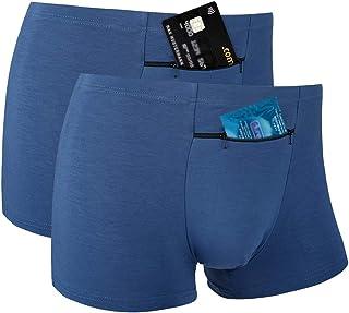 Men's Pocket Underwear with A Secret Front Stash Pocket Panties, 2 Packs (Blue)