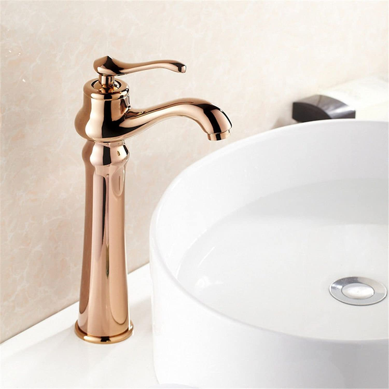 Hlluya Professional Sink Mixer Tap Kitchen Faucet Basin-copper cold water faucet antique gold lowered Basin dual pink gold sink mixer