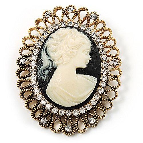 Unbekannt Avalaya Brosche Antik-Gold Kamee Kristall