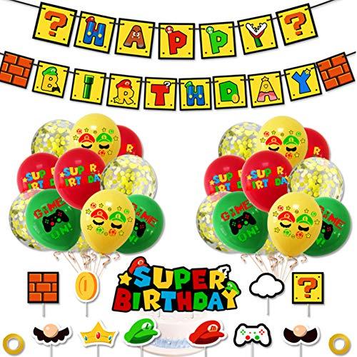 SUNSK Globos Super Mario Globos Cumpleaños Decoracion Mario Bros Globos de Latex Decoración para Tarta Happy Birthday Banner para Fiesta de Cumpleaños Niño 34 Piezas