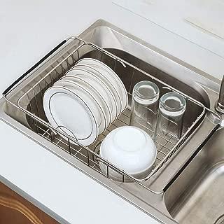 MHFKF Shelf, Stainless Steel Kitchen Sink Drain Basket Retractable Dish Rack Storage Basket Wash Basket Drain Rack Shelf (Stainless Steel)