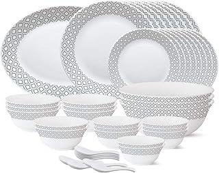 Larah by Borosil - Tiara Series, Black Grey Cone, 44 Pcs, Opalware Dinner Set, White