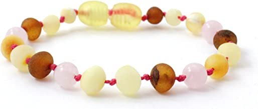Unpolished Baltic Amber Teething Bracelet/Anklet Made with Rose Quartz Beads - Size 5.5 inches (14 cm) - Raw Multicolor Amber Beads - BoutiqueAmber (Raw Mix/Rose Quartz, 5.5 inches)