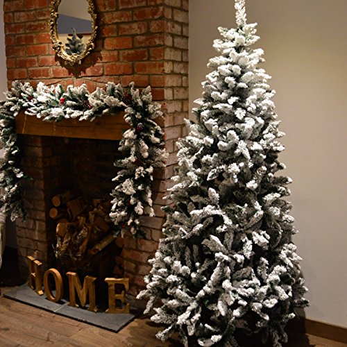 Premier 7ft (2.1m) Snow Valley Fir Christmas Tree -Snow Flocked with 865 Tips