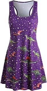 VESKRE Women's Summer Tank Tops Beach Dress Printed Dinosaur Tunic Tank Dress