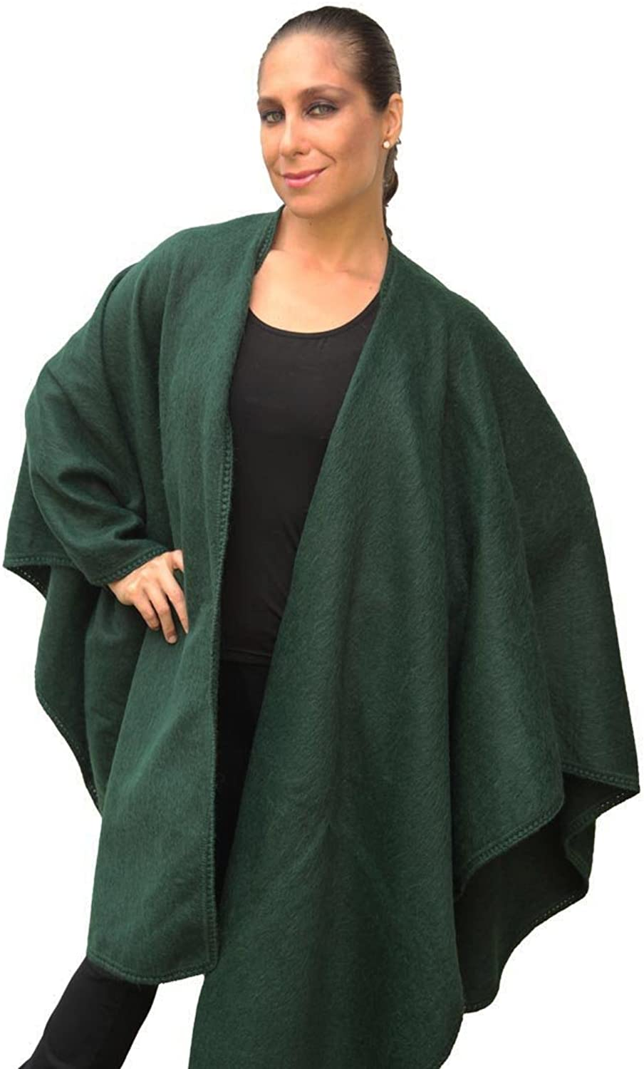 Fine Woven Alpaca Wool Cape Ruana Poncho Wrap One Size colors Available