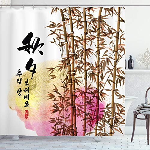 ABAKUHAUS Bambú Cortina de Baño, Japonés asiático de bambú, Material Resistente al Agua Durable Estampa Digital, 175 x 180 cm, Multicolor