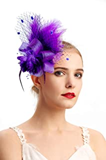 b7fcef8e Fascinators Hats for Women with Hair Clip Tea Party Hats Feather Wedding  Headware Bridal 1920s Headpiece