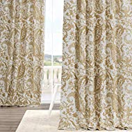 HPD Half Price Drapes PRCT-D09B-84 Printed Cotton Curtain (1 Panel), 50 x 84, Edina Washed Mustard
