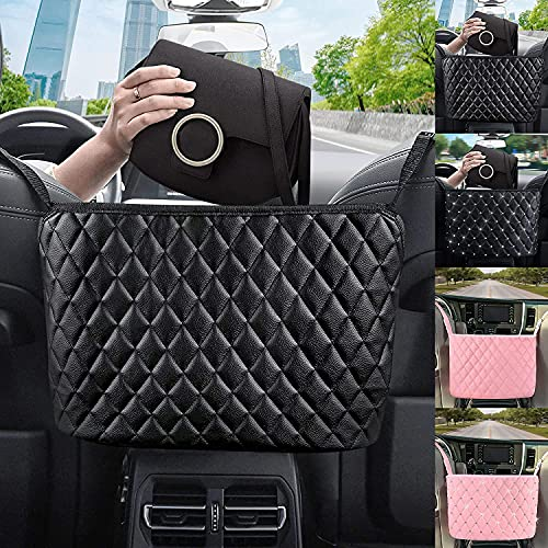 Car Net Pocket Handbag Holder,Purse Holder for Cars Between Seats,Car Purse holder,Leather Handbag Holder For Car Front Seat,Barrier For Backseat Pets Kids,Car Organizers and Storage For Purse Phone