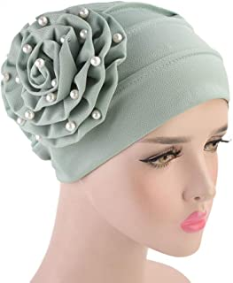 Fashian Lady Flower Polyester Muslim Turban Pleated Head Wrap Scarf Bandana Hat Pre Tied Headwear Cancer Chemo Cap WJ-58 (Color : 2, Size : One Size)