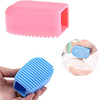 AKOAK 2 Pcs Candy Color Blue and Pink Silicone Washboard Creative Mini Handheld Laundry Washboard