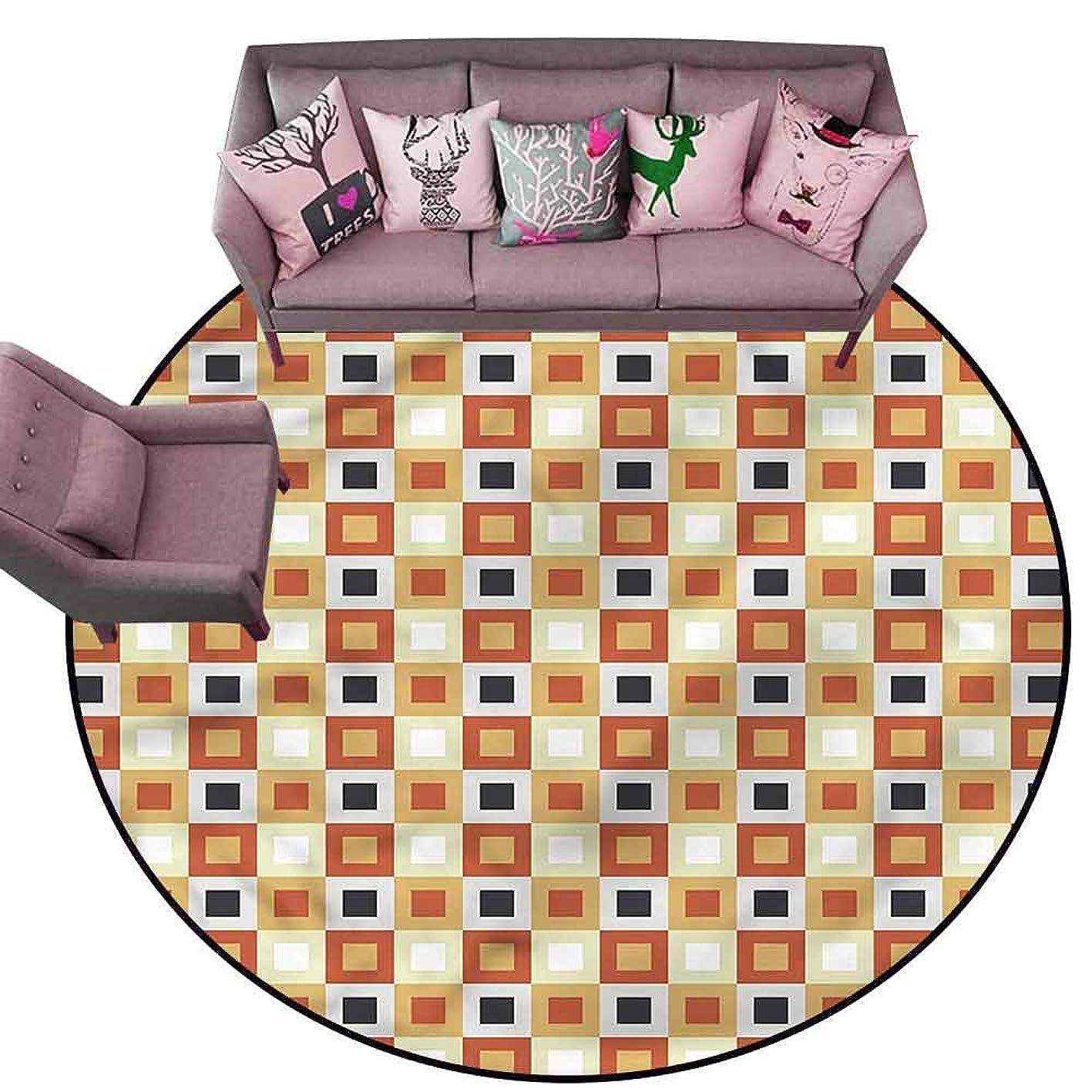 Designed Kitchen Bathroom Floor Mat Colorful Vintage Home,Retro Style Squares Diameter 66