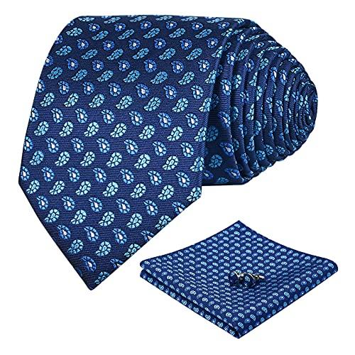 FAIMO Corbata Hombre Pañuelo Corbata Boda Conjunto Gemelos Seda Pañuelo Negocio Rayas Elegante Estilo Casual Corbata Azul