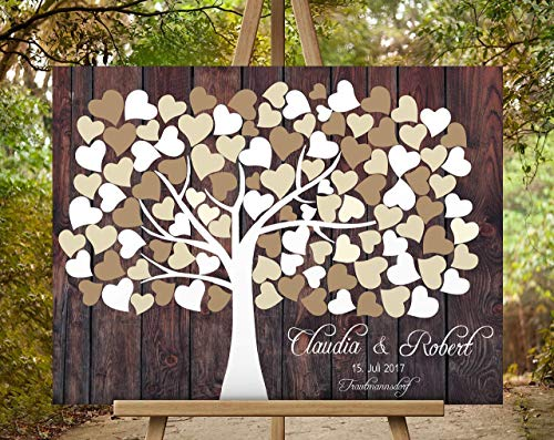 Gästebuch Hochzeitsbaum Wedding Tree, Rustikales Gästebuch, Leinwanddruck Baum