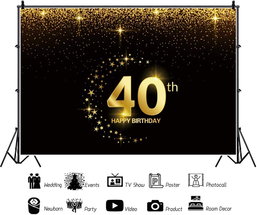 DaShan 5x3ft Polyester Happy 40th Birthday Backdrop Twinkle Little Stars Birthday Party Confetti Women Lady Man Adult Birthday Photography Background Black and Gold Happy Birthday YouTube Photo Prop
