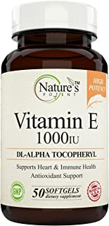 Sponsored Ad - Vitamin E 1000 IU, (High Potency) Non-GMO, dL- Alpha, Tocopheryl, 50 Softgels - Offered by Nature's Potent