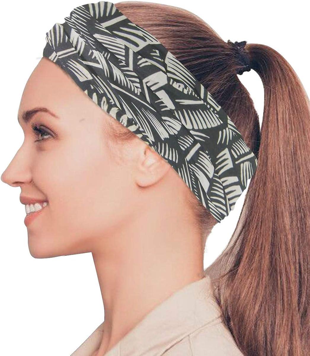 Black And White Art Banana LeavesPrint Headband Face UV Sun Protection Mask Neck Gaiter Magic Scarf Bandana Headwear Balaclava for Women Men