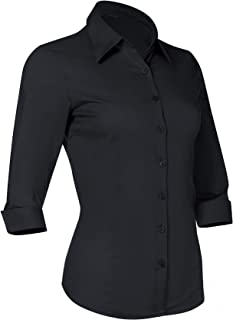 Button Down Shirts for Women 3 4 Sleeve Fitted Dress Shirt and Blouses Work Top