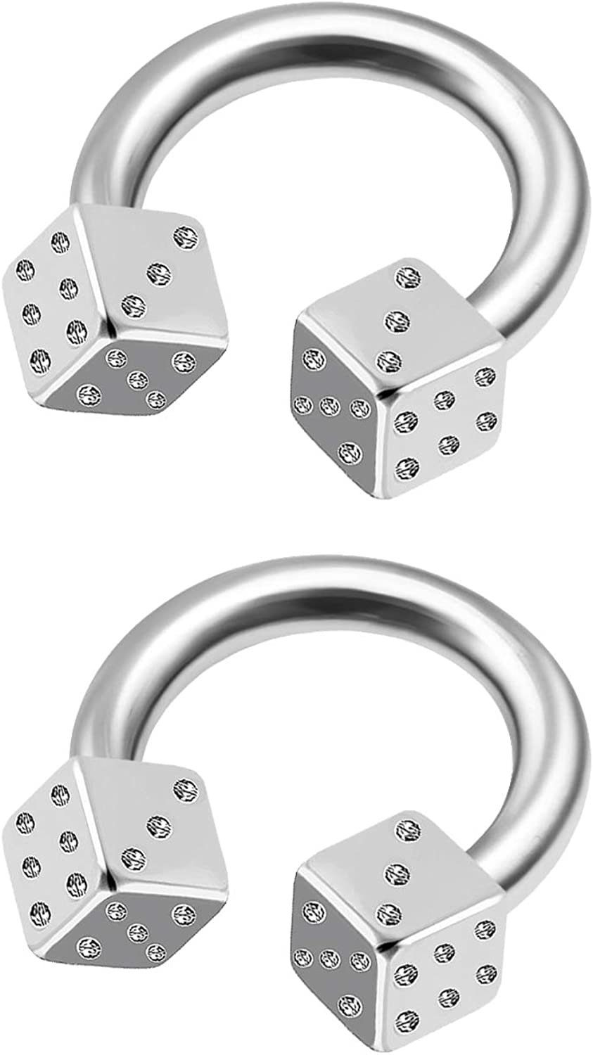 MATIGA 2Pcs Surgical Steel 14 Gauge Ring Horseshoe Piercing Jewelry Tragus Eyebrow Daith Septum Cartilage 4mm Dice More Choices