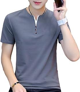 [SeBeliev(シービリーヴ)] ヘンリーネック tシャツ フェイクボタン カジュアル サマー シャツ トップス 半袖 メンズ