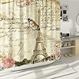 DESIHOM Vintage Paris Duschvorhang Eiffelturm Duschvorhang Hellbraun Europäischer Duschvorhang Polyester Wasserdicht 183 x 183 cm