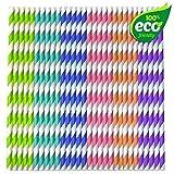 175 Premium Pajitas De Papel - Multicolor, Arco Iris Raya Diseño - 100% Biodegradable y Ecológico...