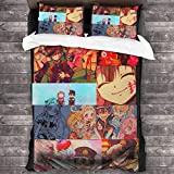 Wall Aion Anime - Funda nórdica de Cosplay de Personaje Hanako-kun con Cierre de Cremallera, Juego de edredón de Microfibra Suave Ultra Suave de 3 Piezas, colchas para Dormitorio C11683