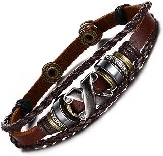 Men's Women's Handmade Bronze Alloy Buckle Braided Rope Bead Genuine Leather Bracelet Cuff Bangle,8.5